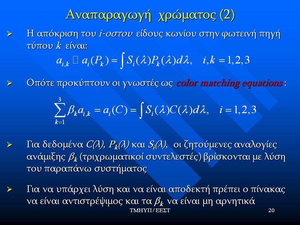 ΤΜΗΥΠ / ΕΕΣΤ20 Αναπαραγωγή χρώματος (2)  Η απόκριση του i-οστου είδους κωνίου στην φωτεινή πηγή τύπου k είναι:  Οπότε προκύπτουν οι γνωστές ως color matching equations :  Για δεδομένα C(λ), P k (λ) και S i (λ), οι ζητούμενες αναλογίες ανάμιξης β k (τριχρωματικοί συντελεστές) βρίσκονται με λύση του παραπάνω συστήματος  Για να υπάρχει λύση και να είναι αποδεκτή πρέπει ο πίνακας να είναι αντιστρέψιμος και τα β k να είναι μη αρνητικά