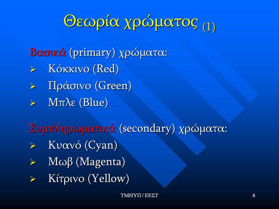 ΤΜΗΥΠ / ΕΕΣΤ6 Θεωρία χρώματος (1) Βασικά (primary) χρώματα:  Κόκκινο (Red)  Πράσινο (Green)  Μπλε (Blue) Συμπληρωματικά (secondary) χρώματα:  Κυανό (Cyan)  Μωβ (Magenta)  Κίτρινο (Yellow)