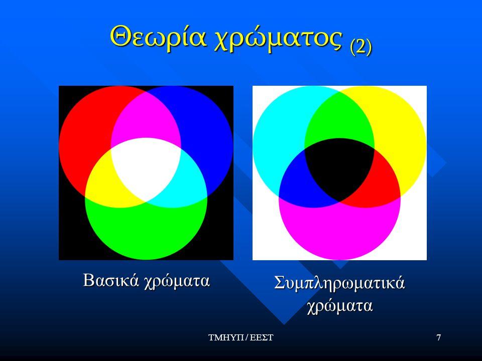 ΤΜΗΥΠ / ΕΕΣΤ8 Θεωρία χρώματος (3) Το χρωματικό διάγραμμα προτάθηκε από την CIE x=R, y=G, z=B, z=1-(x+y) x=R, y=G, z=B, z=1-(x+y) Κάθε σημείο στα όρια του διαγράμματος είναι απόλυτα καθαρό χρώμα, ενώ όσο προχωράμε προς το σημείο της ίσης ενέργειας (άσπρο) η καθαρότητα μειώνεται.