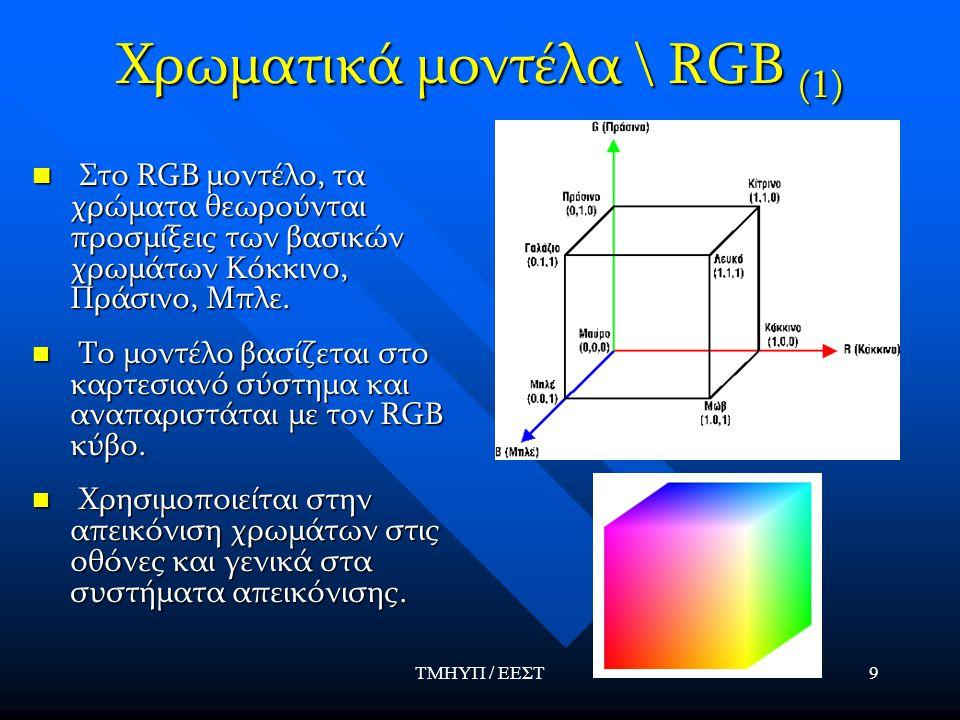ΤΜΗΥΠ / ΕΕΣΤ9 Χρωματικά μοντέλα \ RGB (1) Στο RGB μοντέλο, τα χρώματα θεωρούνται προσμίξεις των βασικών χρωμάτων Κόκκινο, Πράσινο, Μπλε. Στο RGB μοντέ