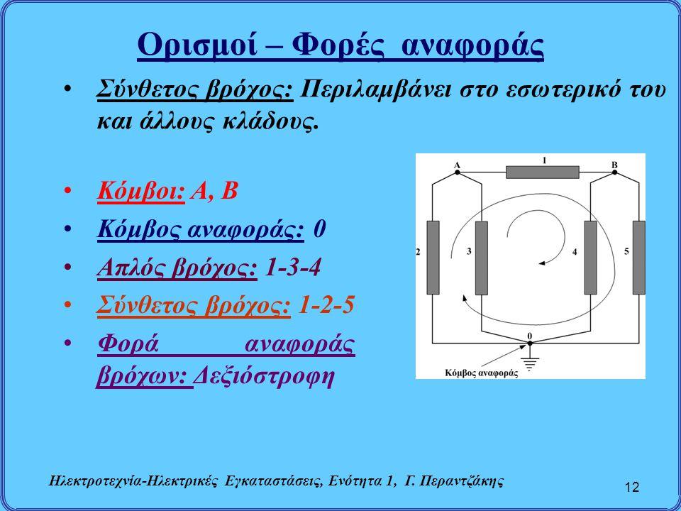 Ορισμοί – Φορές αναφοράς 12 Σύνθετος βρόχος: Περιλαμβάνει στο εσωτερικό του και άλλους κλάδους. Κόμβοι: Α, Β Κόμβος αναφοράς: 0 Απλός βρόχος: 1-3-4 Σύ