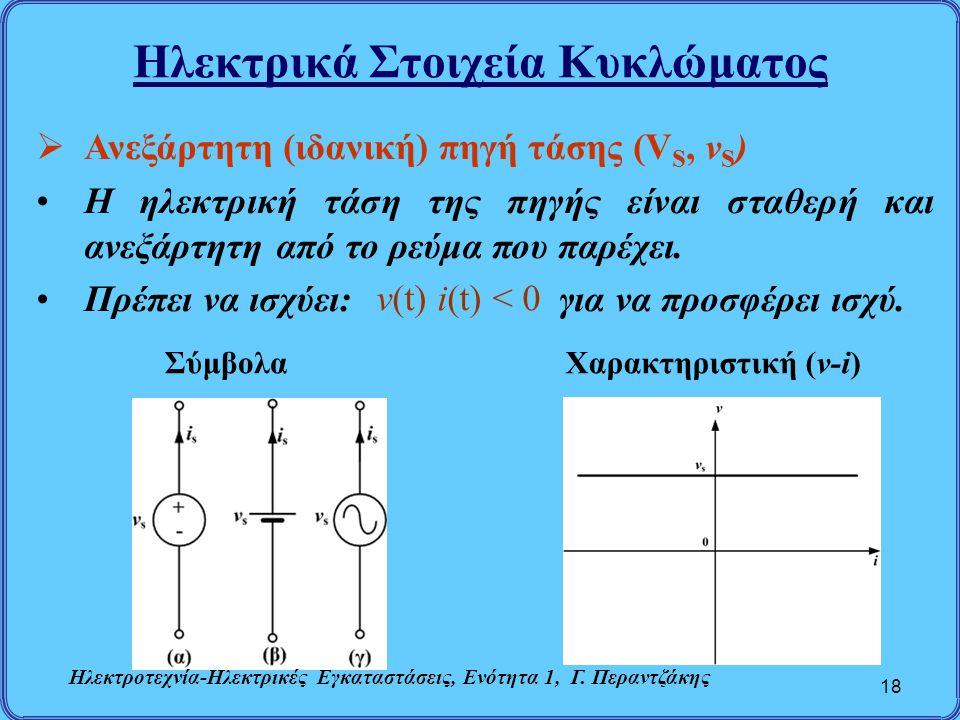 Ηλεκτρικά Στοιχεία Κυκλώματος 18  Ανεξάρτητη (ιδανική) πηγή τάσης (V S, v S ) Η ηλεκτρική τάση της πηγής είναι σταθερή και ανεξάρτητη από το ρεύμα πο