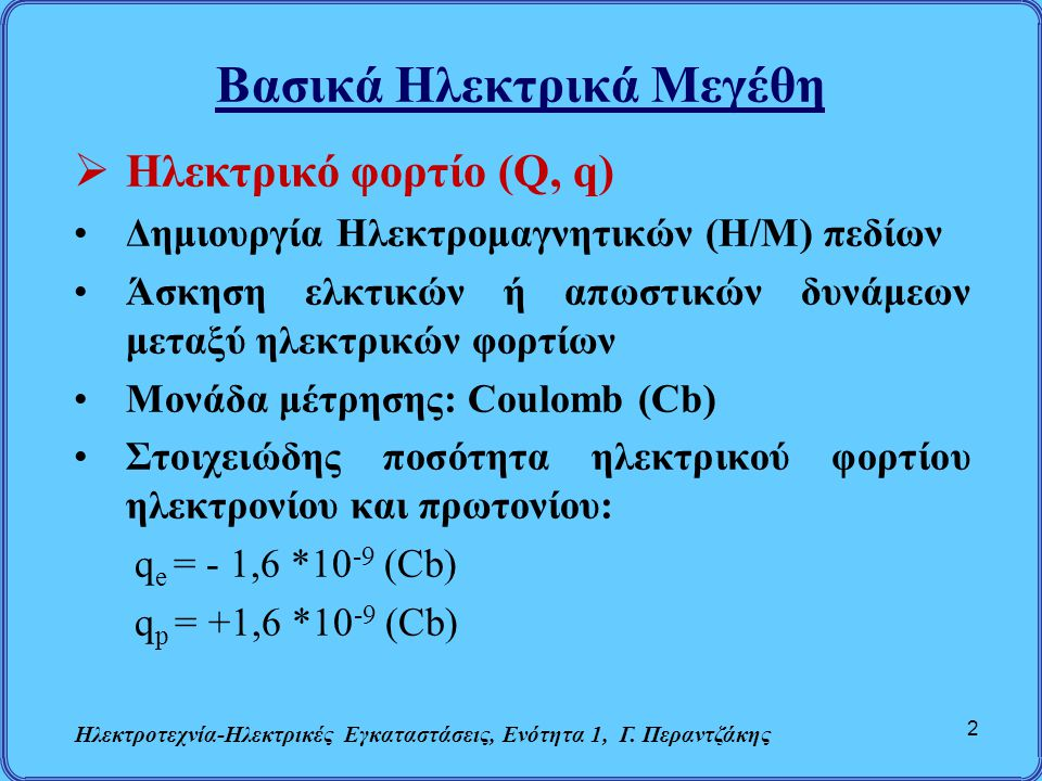 Βασικά Ηλεκτρικά Μεγέθη  Ηλεκτρικό φορτίο (Q, q) Δημιουργία Ηλεκτρομαγνητικών (Η/Μ) πεδίων Άσκηση ελκτικών ή απωστικών δυνάμεων μεταξύ ηλεκτρικών φορ