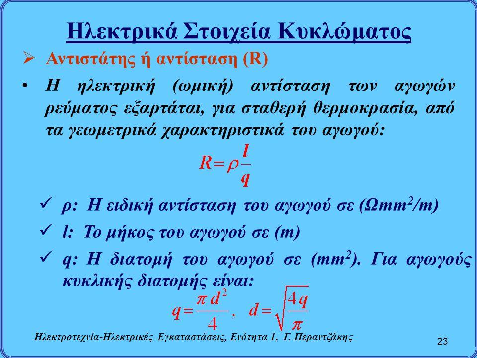 Ηλεκτρικά Στοιχεία Κυκλώματος 23  Αντιστάτης ή αντίσταση (R) Η ηλεκτρική (ωμική) αντίσταση των αγωγών ρεύματος εξαρτάται, για σταθερή θερμοκρασία, απ