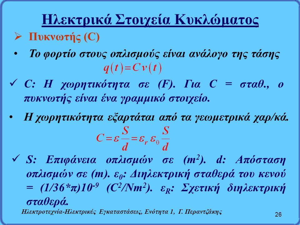 Ηλεκτρικά Στοιχεία Κυκλώματος 26  Πυκνωτής (C) Το φορτίο στους οπλισμούς είναι ανάλογο της τάσης C: Η χωρητικότητα σε (F). Για C = σταθ., ο πυκνωτής