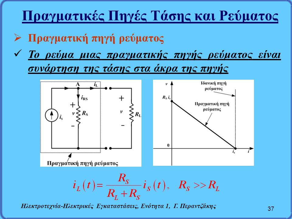 Πραγματικές Πηγές Τάσης και Ρεύματος 37  Πραγματική πηγή ρεύματος Το ρεύμα μιας πραγματικής πηγής ρεύματος είναι συνάρτηση της τάσης στα άκρα της πηγ