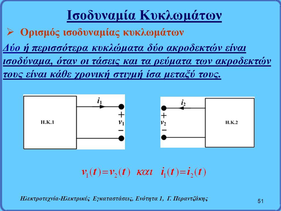 Ισοδυναμία Κυκλωμάτων 51  Ορισμός ισοδυναμίας κυκλωμάτων Δύο ή περισσότερα κυκλώματα δύο ακροδεκτών είναι ισοδύναμα, όταν οι τάσεις και τα ρεύματα τω