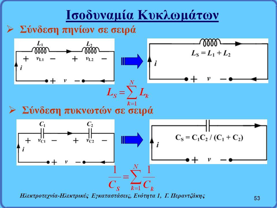 Ισοδυναμία Κυκλωμάτων 53  Σύνδεση πηνίων σε σειρά  Σύνδεση πυκνωτών σε σειρά Ηλεκτροτεχνία-Ηλεκτρικές Εγκαταστάσεις, Ενότητα 1, Γ. Περαντζάκης