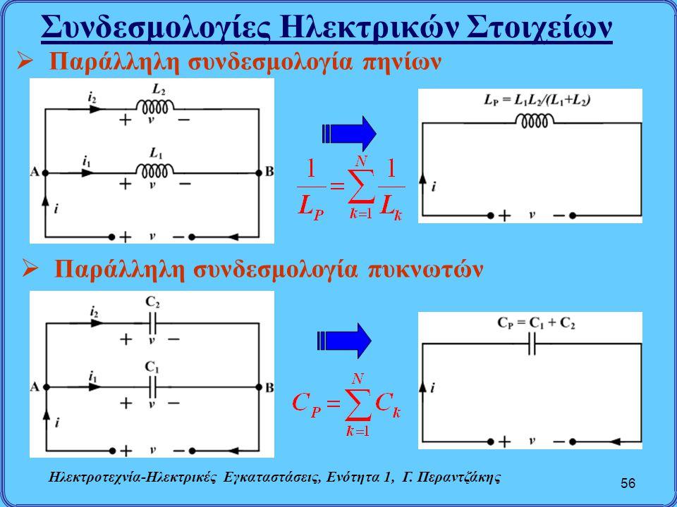 Συνδεσμολογίες Ηλεκτρικών Στοιχείων 56  Παράλληλη συνδεσμολογία πηνίων  Παράλληλη συνδεσμολογία πυκνωτών Ηλεκτροτεχνία-Ηλεκτρικές Εγκαταστάσεις, Ενό