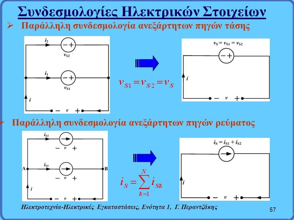 Συνδεσμολογίες Ηλεκτρικών Στοιχείων 57  Παράλληλη συνδεσμολογία ανεξάρτητων πηγών τάσης  Παράλληλη συνδεσμολογία ανεξάρτητων πηγών ρεύματος Ηλεκτροτ