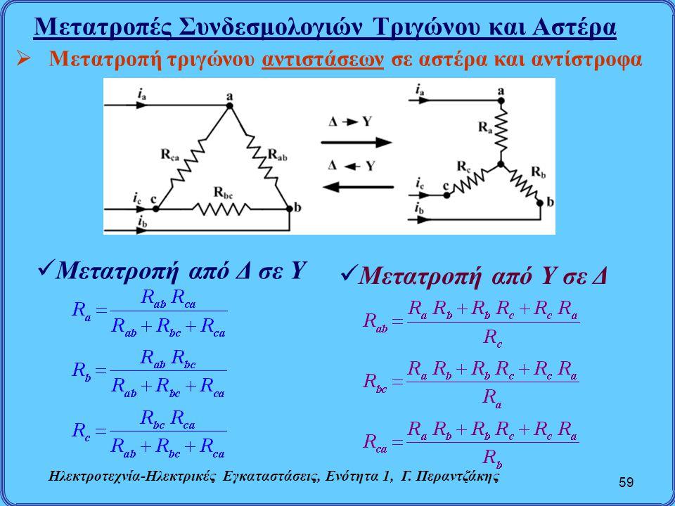 Μετατροπές Συνδεσμολογιών Τριγώνου και Αστέρα 59  Μετατροπή τριγώνου αντιστάσεων σε αστέρα και αντίστροφα Μετατροπή από Δ σε Υ Μετατροπή από Υ σε Δ Η