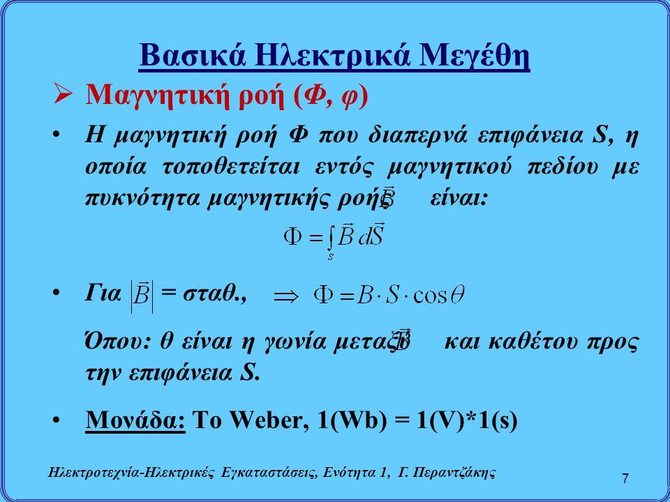 Βασικά Ηλεκτρικά Μεγέθη  Μαγνητική ροή (Φ, φ) Η μαγνητική ροή Φ που διαπερνά επιφάνεια S, η οποία τοποθετείται εντός μαγνητικού πεδίου με πυκνότητα μ