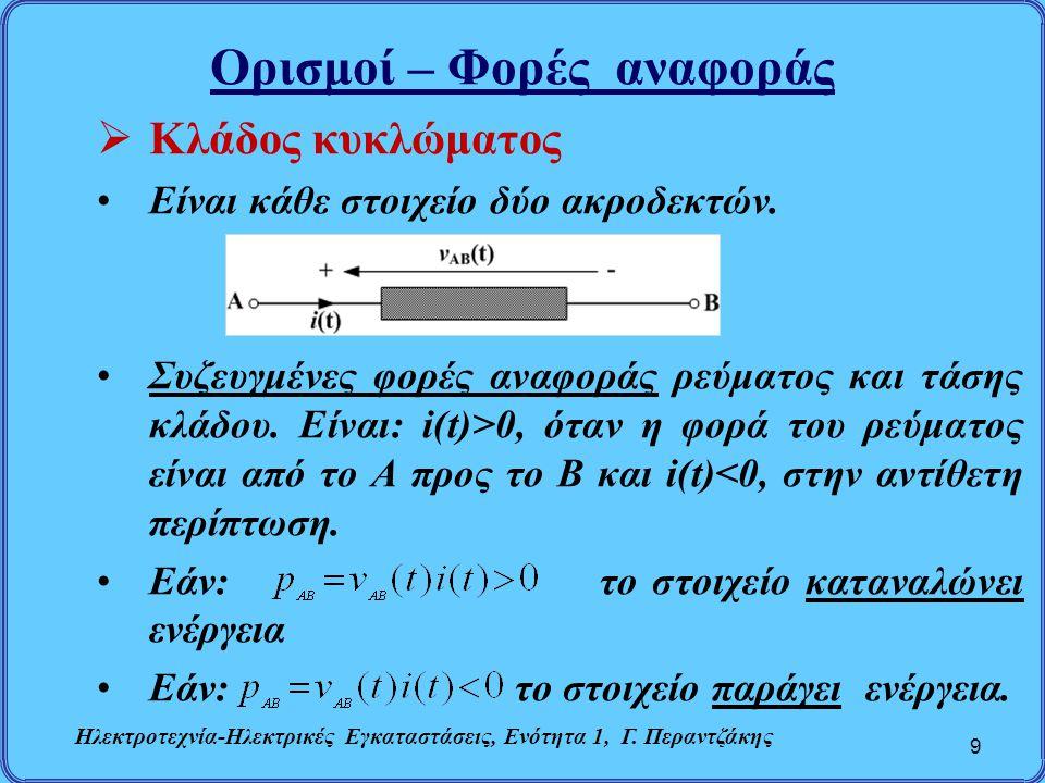 Ηλεκτρικά Στοιχεία Κυκλώματος 30  Πηνίο (L) Τάση πηνίου (νόμος του Faraday) ΣΡ:Το πηνίο συμπεριφέρεται στο ΣΡ ως βραχυκύκλωμα Ηλεκτροτεχνία-Ηλεκτρικές Εγκαταστάσεις, Ενότητα 1, Γ.
