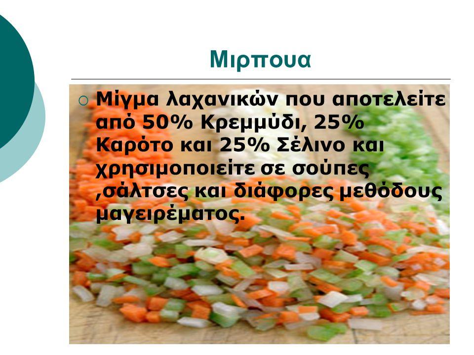 Μιρπουα  Μίγμα λαχανικών που αποτελείτε από 50% Κρεμμύδι, 25% Καρότο και 25% Σέλινο και χρησιμοποιείτε σε σούπες,σάλτσες και διάφορες μεθόδους μαγειρέματος.