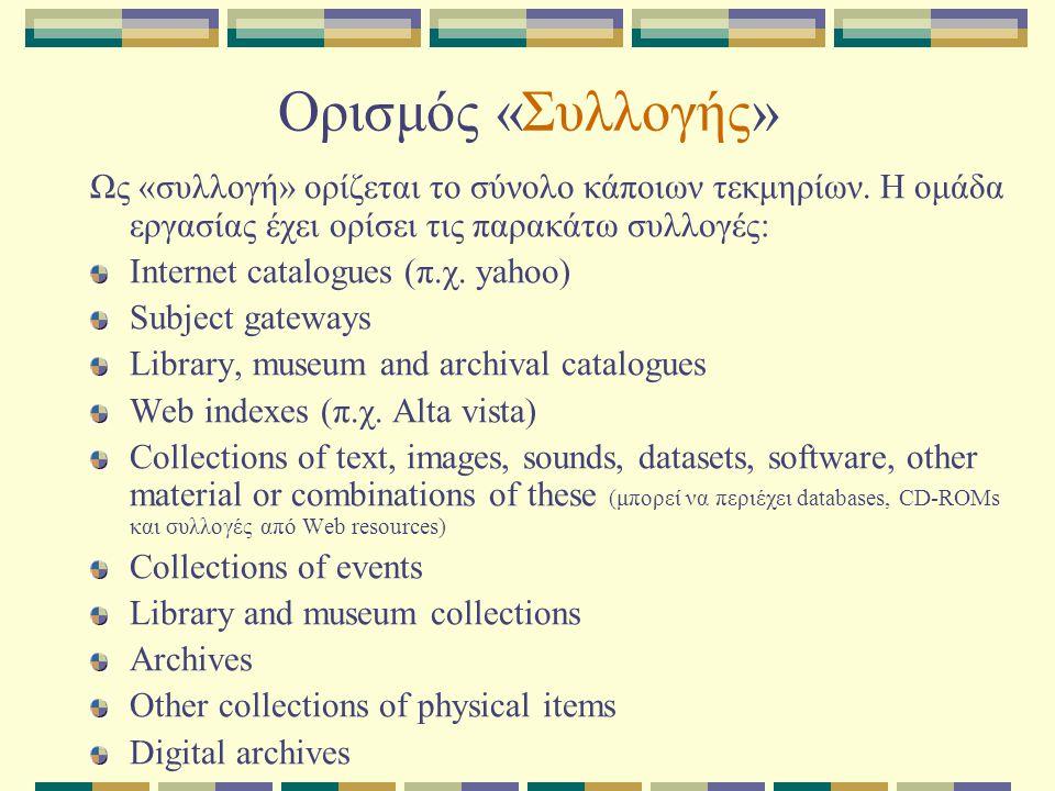 Ορισμός «Συλλογής» Ως «συλλογή» ορίζεται το σύνολο κάποιων τεκμηρίων. Η ομάδα εργασίας έχει ορίσει τις παρακάτω συλλογές: Internet catalogues (π.χ. ya