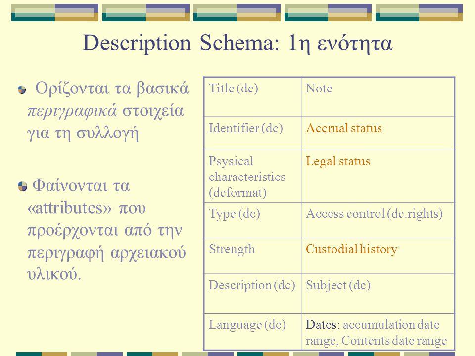 Description Schema: 1η ενότητα Ορίζονται τα βασικά περιγραφικά στοιχεία για τη συλλογή Φαίνονται τα «attributes» που προέρχονται από την περιγραφή αρχειακού υλικού.