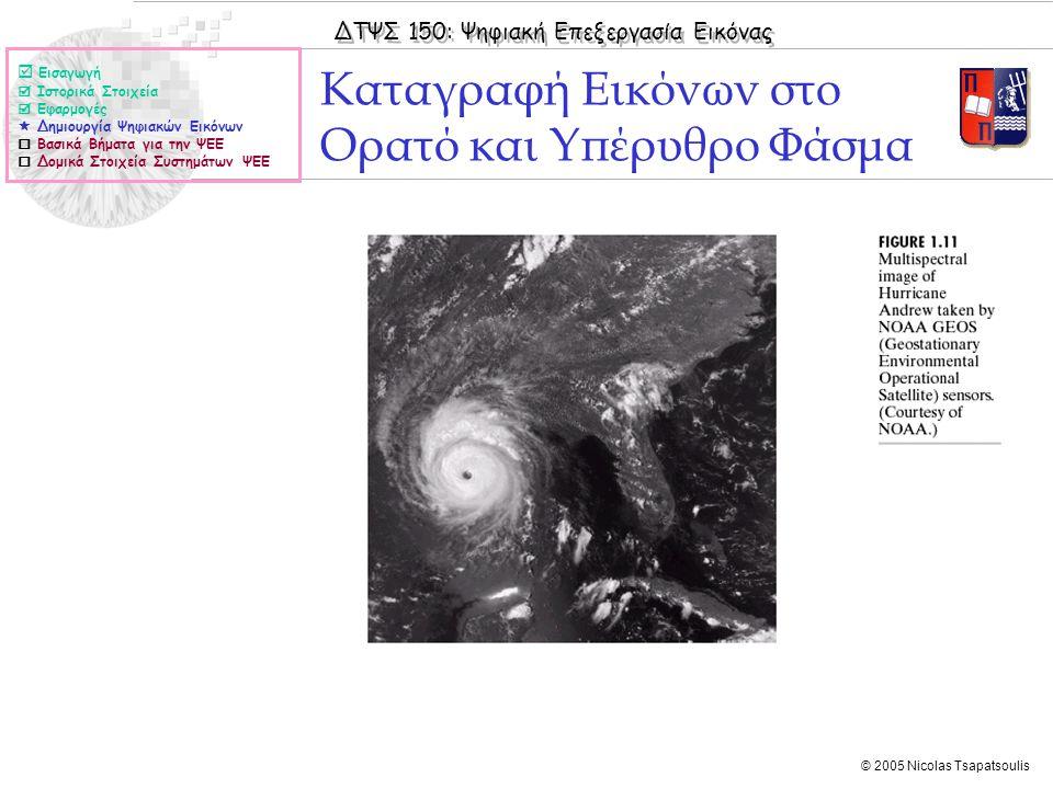 ΔΤΨΣ 150: Ψηφιακή Επεξεργασία Εικόνας © 2005 Nicolas Tsapatsoulis Καταγραφή Εικόνων στο Ορατό και Υπέρυθρο Φάσμα  Εισαγωγή  Ιστορικά Στοιχεία  Εφαρ