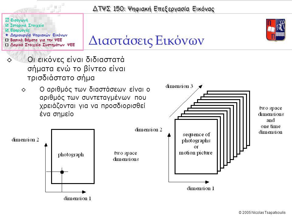 ΔΤΨΣ 150: Ψηφιακή Επεξεργασία Εικόνας © 2005 Nicolas Tsapatsoulis Διαστάσεις Εικόνων  Εισαγωγή  Ιστορικά Στοιχεία  Εφαρμογές  Δημιουργία Ψηφιακών Εικόνων  Βασικά Βήματα για την ΨΕΕ  Δομικά Στοιχεία Συστημάτων ΨΕΕ ◊Οι εικόνες είναι διδιαστατά σήματα ενώ το βίντεο είναι τρισδιάστατο σήμα ◊Ο αριθμός των διαστάσεων είναι ο αριθμός των συντεταγμένων που χρειάζονται για να προσδιορισθεί ένα σημείο