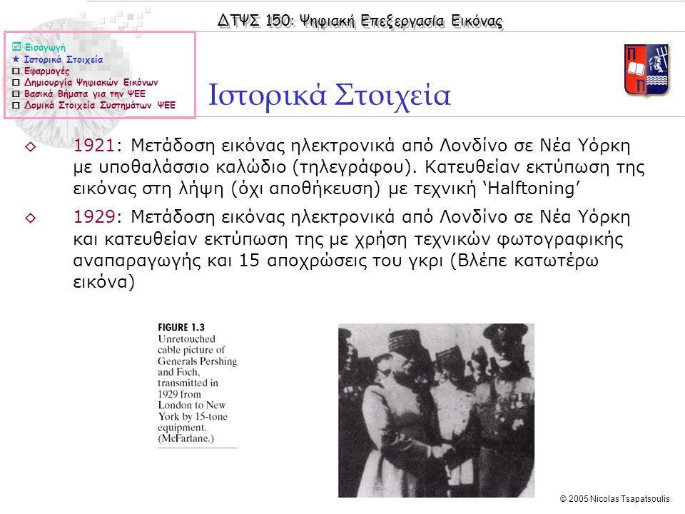 ΔΤΨΣ 150: Ψηφιακή Επεξεργασία Εικόνας © 2005 Nicolas Tsapatsoulis  Εισαγωγή  Ιστορικά Στοιχεία  Εφαρμογές  Δημιουργία Ψηφιακών Εικόνων  Βασικά Βή
