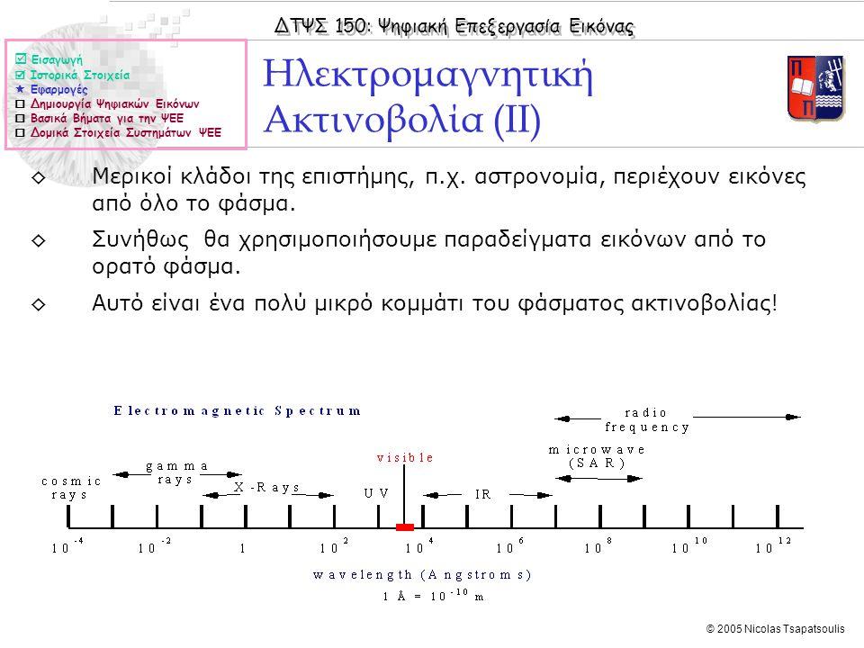 ΔΤΨΣ 150: Ψηφιακή Επεξεργασία Εικόνας © 2005 Nicolas Tsapatsoulis Δημιουργία Ψηφιακών Εικόνων  Εισαγωγή  Ιστορικά Στοιχεία  Εφαρμογές  Δημιουργία Ψηφιακών Εικόνων  Βασικά Βήματα για την ΨΕΕ  Δομικά Στοιχεία Συστημάτων ΨΕΕ ◊Μπορούμε να διακρίνουμε τρεις τύπους εικόνας, οι οποίοι δημιουργούν διαφορετικούς τύπους πληροφορίας εικόνας: ◊Εικόνες που δημιουργούνται με απεικόνιση αντανάκλασης ◊Εικόνες που δημιουργούνται με απεικόνιση εκπομπής ◊Εικόνες που δημιουργούνται με απεικόνιση απορρόφησης