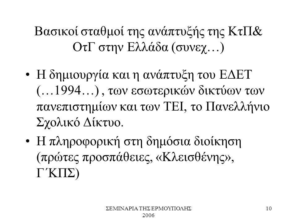 ΣΕΜΙΝΑΡΙΑ ΤΗΣ ΕΡΜΟΥΠΟΛΗΣ 2006 10 Βασικοί σταθμοί της ανάπτυξής της ΚτΠ& ΟτΓ στην Ελλάδα (συνεχ…) Η δημιουργία και η ανάπτυξη του ΕΔΕΤ (…1994…), των εσ