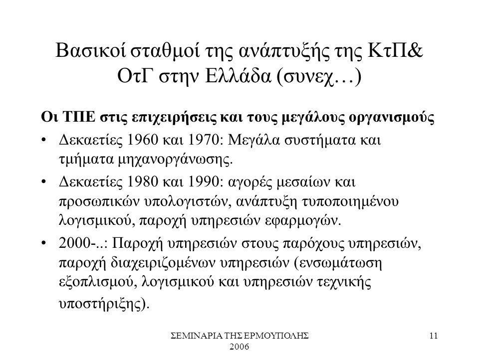 ΣΕΜΙΝΑΡΙΑ ΤΗΣ ΕΡΜΟΥΠΟΛΗΣ 2006 11 Βασικοί σταθμοί της ανάπτυξής της ΚτΠ& ΟτΓ στην Ελλάδα (συνεχ…) Οι ΤΠΕ στις επιχειρήσεις και τους μεγάλους οργανισμού