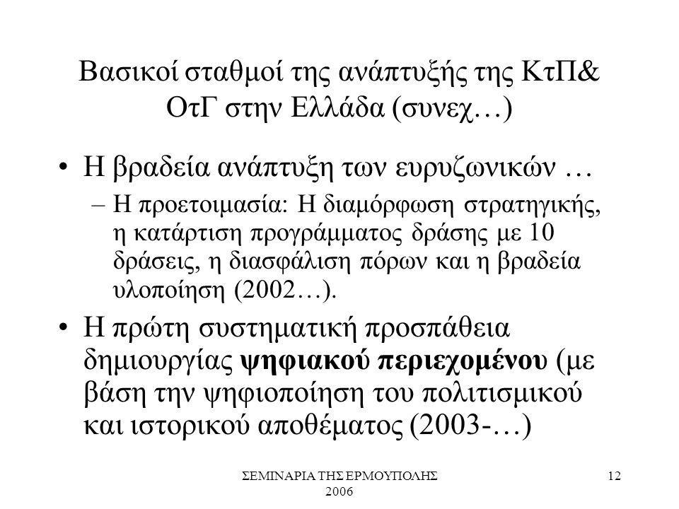 ΣΕΜΙΝΑΡΙΑ ΤΗΣ ΕΡΜΟΥΠΟΛΗΣ 2006 12 Βασικοί σταθμοί της ανάπτυξής της ΚτΠ& ΟτΓ στην Ελλάδα (συνεχ…) Η βραδεία ανάπτυξη των ευρυζωνικών … –Η προετοιμασία: