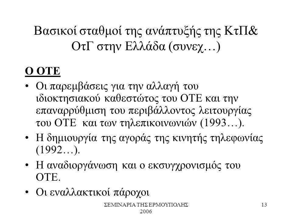 ΣΕΜΙΝΑΡΙΑ ΤΗΣ ΕΡΜΟΥΠΟΛΗΣ 2006 13 Βασικοί σταθμοί της ανάπτυξής της ΚτΠ& ΟτΓ στην Ελλάδα (συνεχ…) Ο ΟΤΕ Οι παρεμβάσεις για την αλλαγή του ιδιοκτησιακού