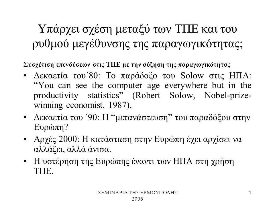 ΣΕΜΙΝΑΡΙΑ ΤΗΣ ΕΡΜΟΥΠΟΛΗΣ 2006 7 Υπάρχει σχέση μεταξύ των ΤΠΕ και του ρυθμού μεγέθυνσης της παραγωγικότητας; Συσχέτιση επενδύσεων στις ΤΠΕ με την αύξησ
