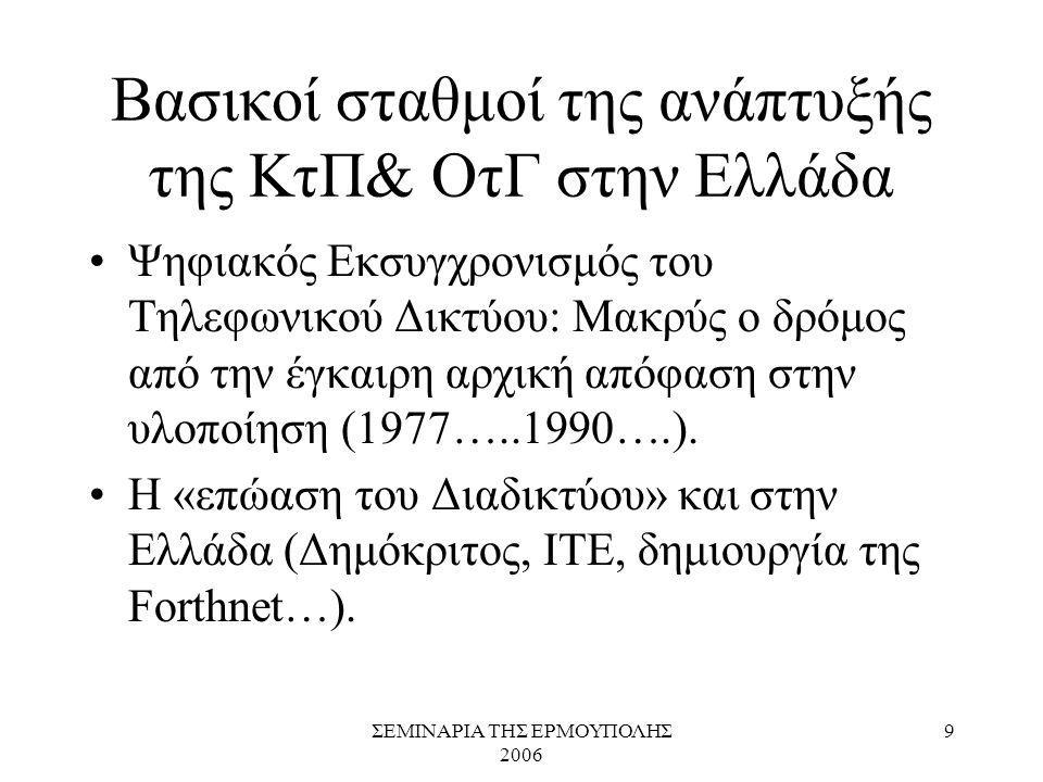 ΣΕΜΙΝΑΡΙΑ ΤΗΣ ΕΡΜΟΥΠΟΛΗΣ 2006 9 Βασικοί σταθμοί της ανάπτυξής της ΚτΠ& ΟτΓ στην Ελλάδα Ψηφιακός Εκσυγχρονισμός του Τηλεφωνικού Δικτύου: Μακρύς ο δρόμο