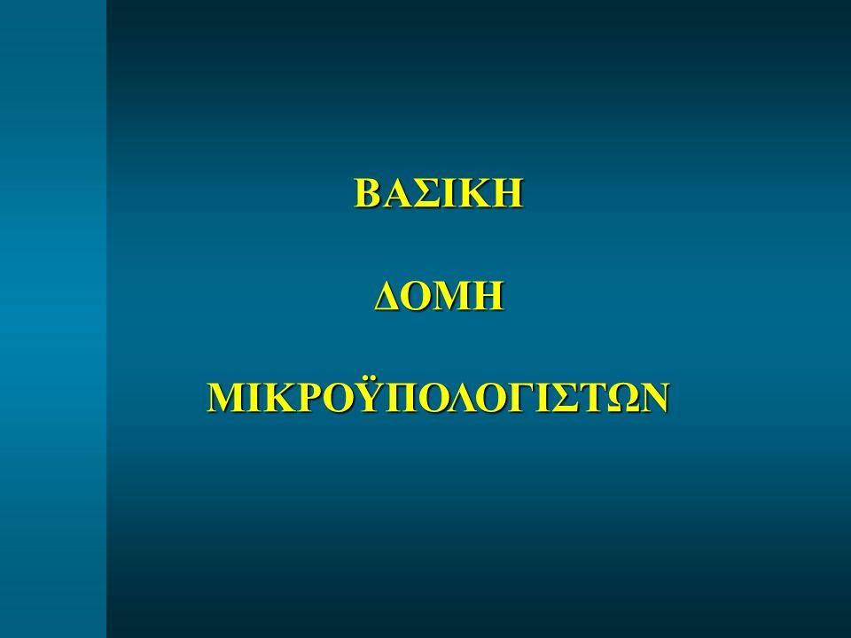  AD0-AD7 = Πολυπλεγμένο Χαμηλό (low) Address (Α0-Α7) & Data (D0-D7) bus  A8-A15 = Υψηλό (high) Address bus  IO / M = Εξοδος σήματος ελέγχου διαχωρισμού προσπέλασης Μνήμης ή Ι/Ο  ALE (Address Latch Enable) = Σημα απόπλεξης πολυπλεγμένου AD0-AD7  WR = Εξοδος σήματος ελέγχου εγγραφής WRITE (ενεργή σε χαμηλή στάθμη 0)  RD = Εξοδος σήματος ελέγχου ανάγνωσης READ (ενεργή σε χαμηλή στάθμη 0)  INTR = Είσοδος σήματος διακοπής (Interrupt)  ΙΝΤΑ = Εξοδος σήματος αποδοχής διακοπής (Interrupt Acknowledge) Επεξήγηση