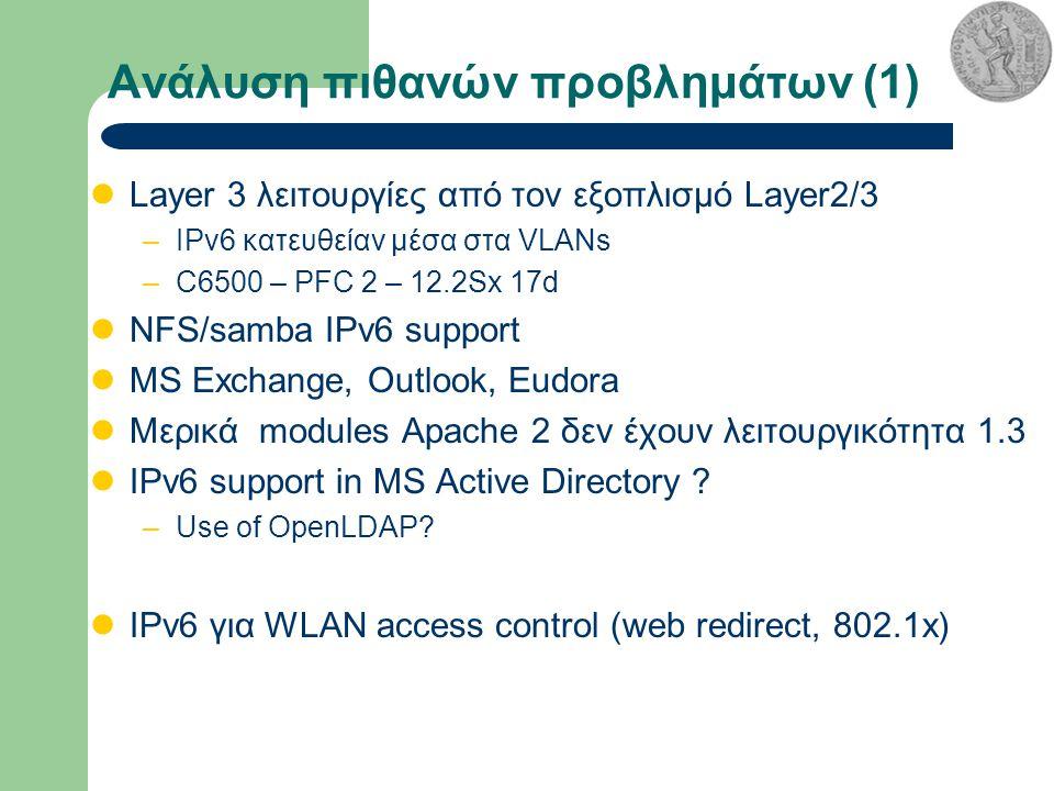 Ανάλυση πιθανών προβλημάτων (1) Layer 3 λειτουργίες από τον εξοπλισμό Layer2/3 –IPv6 κατευθείαν μέσα στα VLANs –C6500 – PFC 2 – 12.2Sx 17d NFS/samba IPv6 support MS Exchange, Outlook, Eudora Μερικά modules Apache 2 δεν έχουν λειτουργικότητα 1.3 IPv6 support in MS Active Directory .
