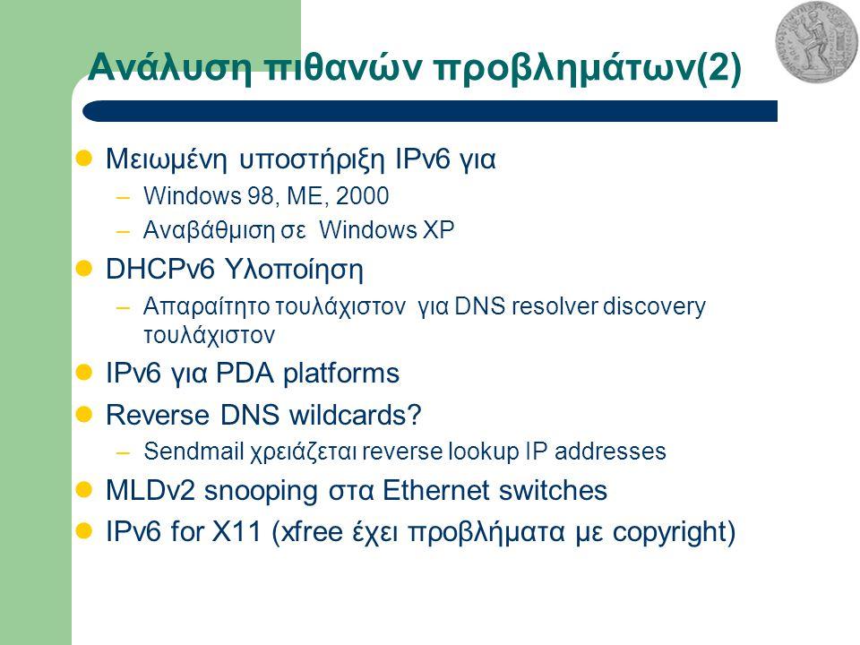 Ανάλυση πιθανών προβλημάτων(2) Μειωμένη υποστήριξη IPv6 για –Windows 98, ME, 2000 –Αναβάθμιση σε Windows XP DHCPv6 Υλοποίηση –Απαραίτητο τουλάχιστον για DNS resolver discovery τουλάχιστον IPv6 για PDA platforms Reverse DNS wildcards.