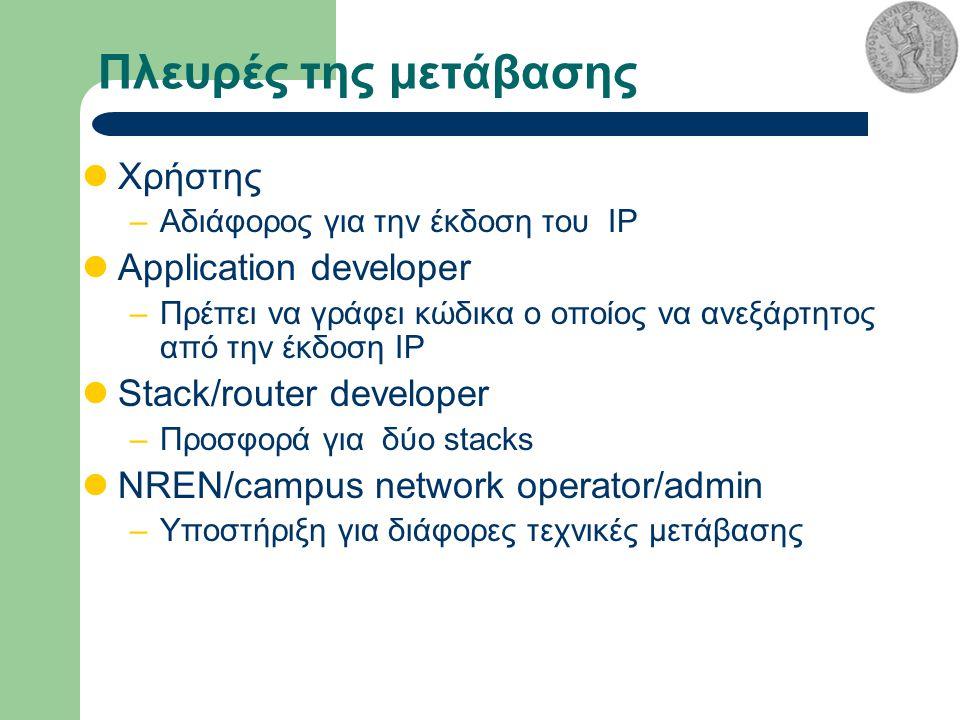 Πλευρές της μετάβασης Χρήστης –Αδιάφορος για την έκδοση του IP Application developer –Πρέπει να γράφει κώδικα ο οποίος να ανεξάρτητος από την έκδοση IP Stack/router developer –Προσφορά για δύο stacks NREN/campus network operator/admin –Υποστήριξη για διάφορες τεχνικές μετάβασης