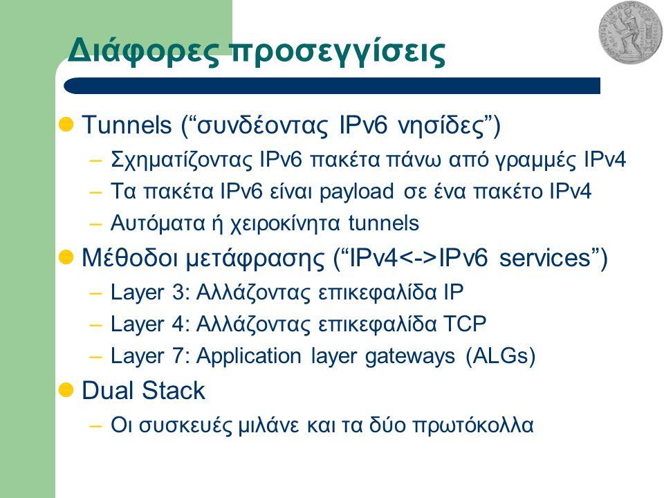 Διάφορες προσεγγίσεις Tunnels ( συνδέοντας IPv6 νησίδες ) –Σχηματίζοντας IPv6 πακέτα πάνω από γραμμές IPv4 –Τα πακέτα IPv6 είναι payload σε ένα πακέτο IPv4 –Αυτόματα ή χειροκίνητα tunnels Μέθοδοι μετάφρασης ( IPv4 IPv6 services ) –Layer 3: Αλλάζοντας επικεφαλίδα IP –Layer 4: Αλλάζοντας επικεφαλίδα TCP –Layer 7: Application layer gateways (ALGs) Dual Stack –Οι συσκευές μιλάνε και τα δύο πρωτόκολλα