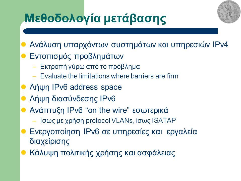 Μεθοδολογία μετάβασης Ανάλυση υπαρχόντων συστημάτων και υπηρεσιών IPv4 Εντοπισμός προβλημάτων –Εκτροπή γύρω από το πρόβλημα –Evaluate the limitations where barriers are firm Λήψη IPv6 address space Λήψη διασύνδεσης IPv6 Ανάπτυξη IPv6 on the wire εσωτερικά –Ισως με χρήση protocol VLANs, ίσως ISATAP Ενεργοποίηση IPv6 σε υπηρεσίες και εργαλεία διαχείρισης Κάλυψη πολιτικής χρήσης και ασφάλειας