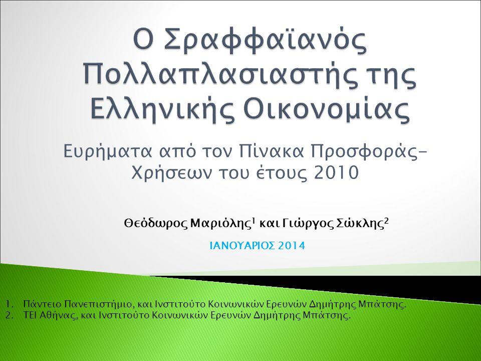 Ευρήματα από τον Πίνακα Προσφοράς- Χρήσεων του έτους 2010 Θεόδωρος Μαριόλης 1 και Γιώργος Σώκλης 2 ΙΑΝΟΥΑΡΙΟΣ 2014 1.Πάντειο Πανεπιστήμιο, και Ινστιτούτο Κοινωνικών Ερευνών Δημήτρης Μπάτσης.