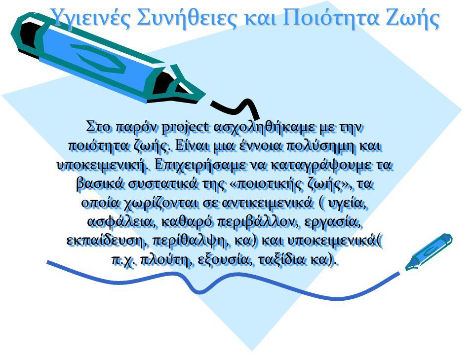 Στο παρόν project ασχοληθήκαμε με την ποιότητα ζωής.