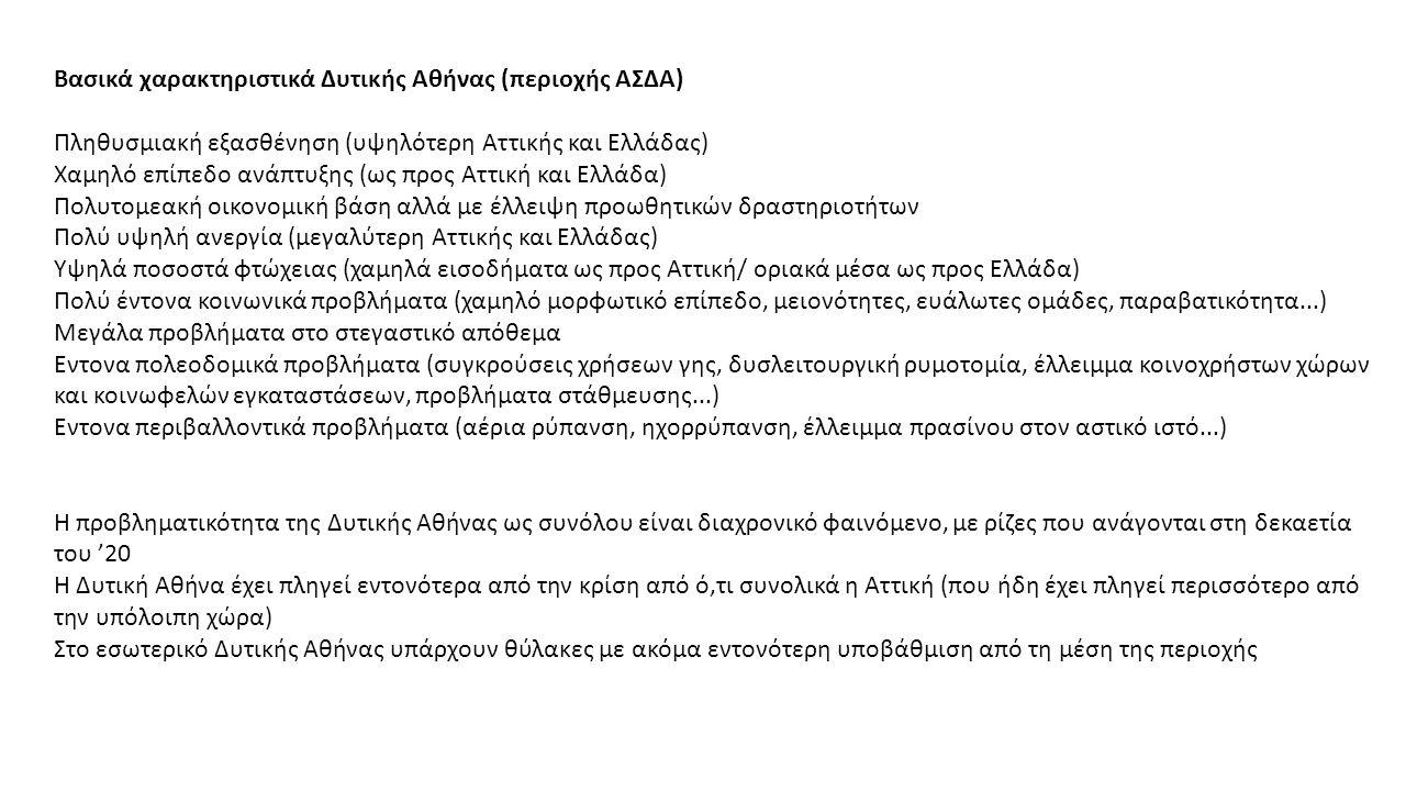 Βασικά χαρακτηριστικά Δυτικής Αθήνας (περιοχής ΑΣΔΑ) Πληθυσμιακή εξασθένηση (υψηλότερη Αττικής και Ελλάδας) Χαμηλό επίπεδο ανάπτυξης (ως προς Αττική και Ελλάδα) Πολυτομεακή οικονομική βάση αλλά με έλλειψη προωθητικών δραστηριοτήτων Πολύ υψηλή ανεργία (μεγαλύτερη Αττικής και Ελλάδας) Υψηλά ποσοστά φτώχειας (χαμηλά εισοδήματα ως προς Αττική/ οριακά μέσα ως προς Ελλάδα) Πολύ έντονα κοινωνικά προβλήματα (χαμηλό μορφωτικό επίπεδο, μειονότητες, ευάλωτες ομάδες, παραβατικότητα...) Μεγάλα προβλήματα στο στεγαστικό απόθεμα Εντονα πολεοδομικά προβλήματα (συγκρούσεις χρήσεων γης, δυσλειτουργική ρυμοτομία, έλλειμμα κοινοχρήστων χώρων και κοινωφελών εγκαταστάσεων, προβλήματα στάθμευσης...) Εντονα περιβαλλοντικά προβλήματα (αέρια ρύπανση, ηχορρύπανση, έλλειμμα πρασίνου στον αστικό ιστό...) Η προβληματικότητα της Δυτικής Αθήνας ως συνόλου είναι διαχρονικό φαινόμενο, με ρίζες που ανάγονται στη δεκαετία του '20 Η Δυτική Αθήνα έχει πληγεί εντονότερα από την κρίση από ό,τι συνολικά η Αττική (που ήδη έχει πληγεί περισσότερο από την υπόλοιπη χώρα) Στο εσωτερικό Δυτικής Αθήνας υπάρχουν θύλακες με ακόμα εντονότερη υποβάθμιση από τη μέση της περιοχής