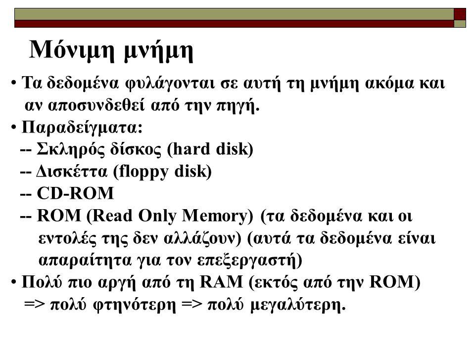 Μόνιμη μνήμη Τα δεδομένα φυλάγονται σε αυτή τη μνήμη ακόμα και αν αποσυνδεθεί από την πηγή.
