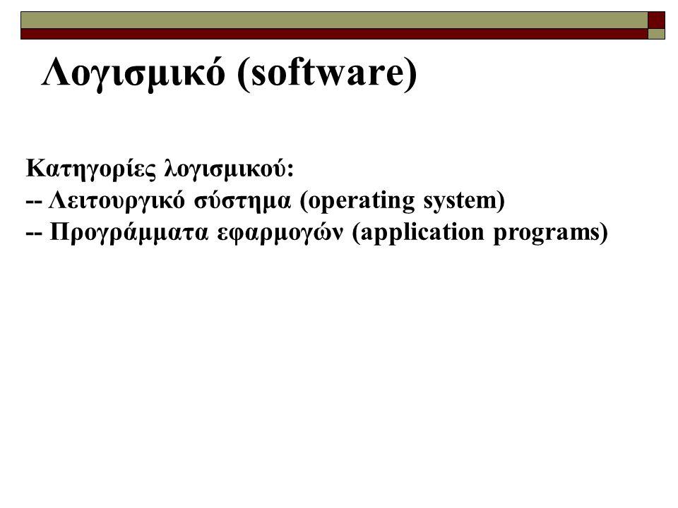 Λογισμικό (software) Κατηγορίες λογισμικού: -- Λειτουργικό σύστημα (operating system) -- Προγράμματα εφαρμογών (application programs)