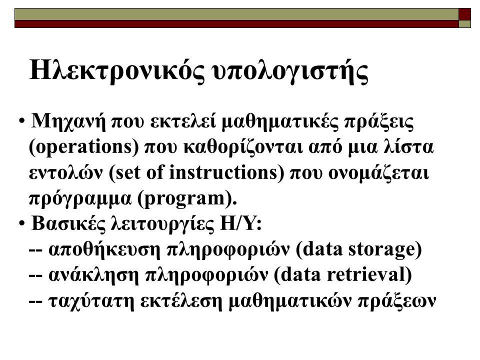 Ηλεκτρονικός υπολογιστής Μηχανή που εκτελεί μαθηματικές πράξεις (operations) που καθορίζονται από μια λίστα εντολών (set of instructions) που ονομάζεται πρόγραμμα (program).