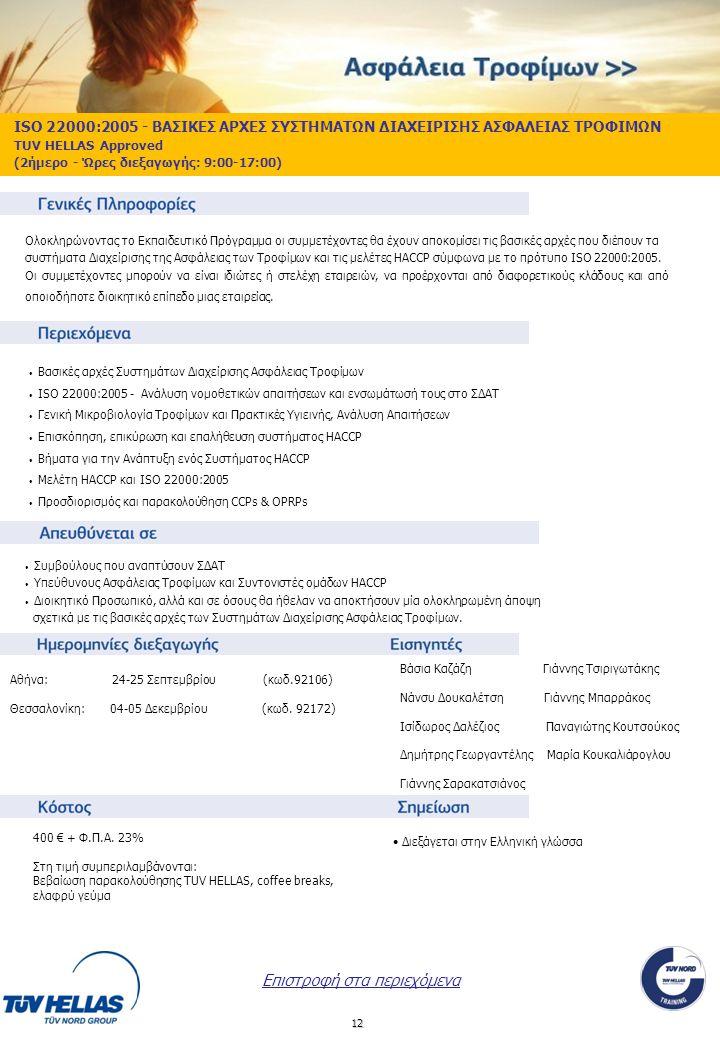 12 ISO 22000:2005 - ΒΑΣΙΚΕΣ ΑΡΧΕΣ ΣΥΣΤΗΜΑΤΩΝ ΔΙΑΧΕΙΡΙΣΗΣ ΑΣΦΑΛΕΙΑΣ ΤΡΟΦΙΜΩΝ TUV HELLAS Approved (2ήμερο - Ώρες διεξαγωγής: 9:00-17:00) Αθήνα: 24-25 Σε