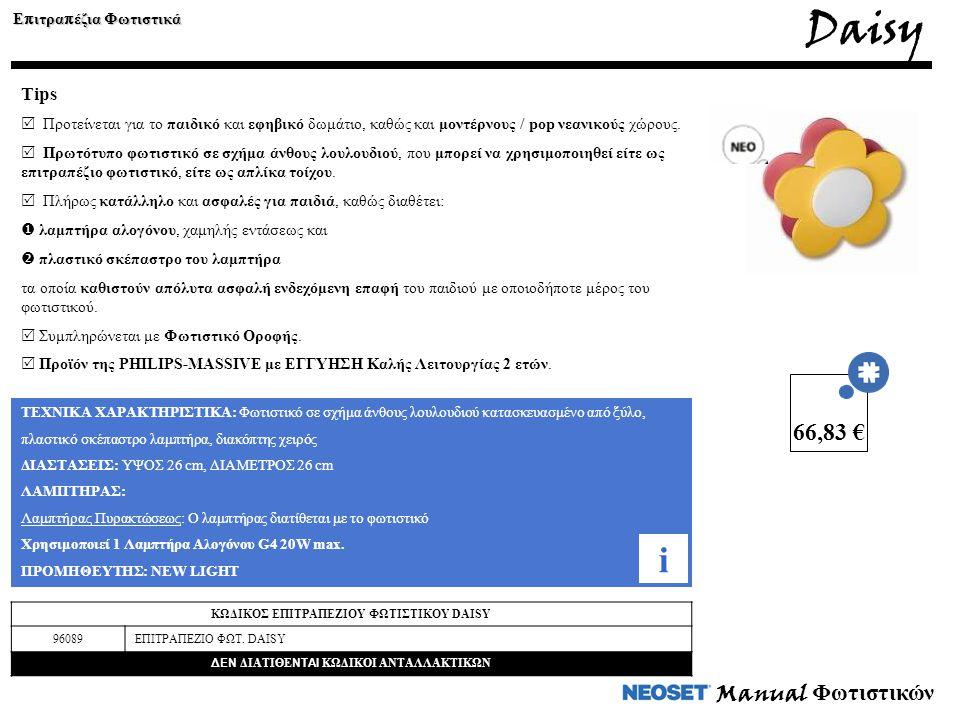 Manual Φωτιστικών Daisy Ε π ιτρα π έζια Φωτιστικά Tips  Προτείνεται για το παιδικό και εφηβικό δωμάτιο, καθώς και μοντέρνους / pop νεανικούς χώρους.
