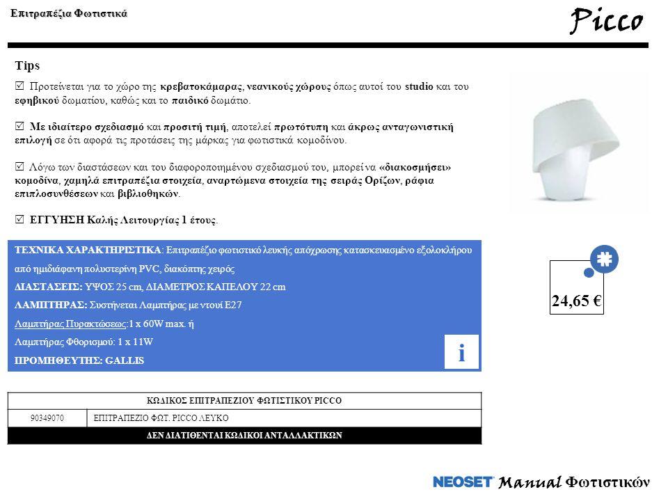 Manual Φωτιστικών ΤΕΧΝΙΚΑ ΧΑΡΑΚΤΗΡΙΣΤΙΚΑ: Επιτραπέζιο φωτιστικό λευκής απόχρωσης κατασκευασμένο εξολοκλήρου από ημιδιάφανη πολυστερίνη PVC, διακόπτης χειρός ΔΙΑΣΤΑΣΕΙΣ: ΥΨΟΣ 25 cm, ΔΙΑΜΕΤΡΟΣ ΚΑΠΕΛΟΥ 22 cm ΛΑΜΠΤΗΡΑΣ: Συστήνεται Λαμπτήρας με ντουί Ε27 Λαμπτήρας Πυρακτώσεως:1 x 60W max.