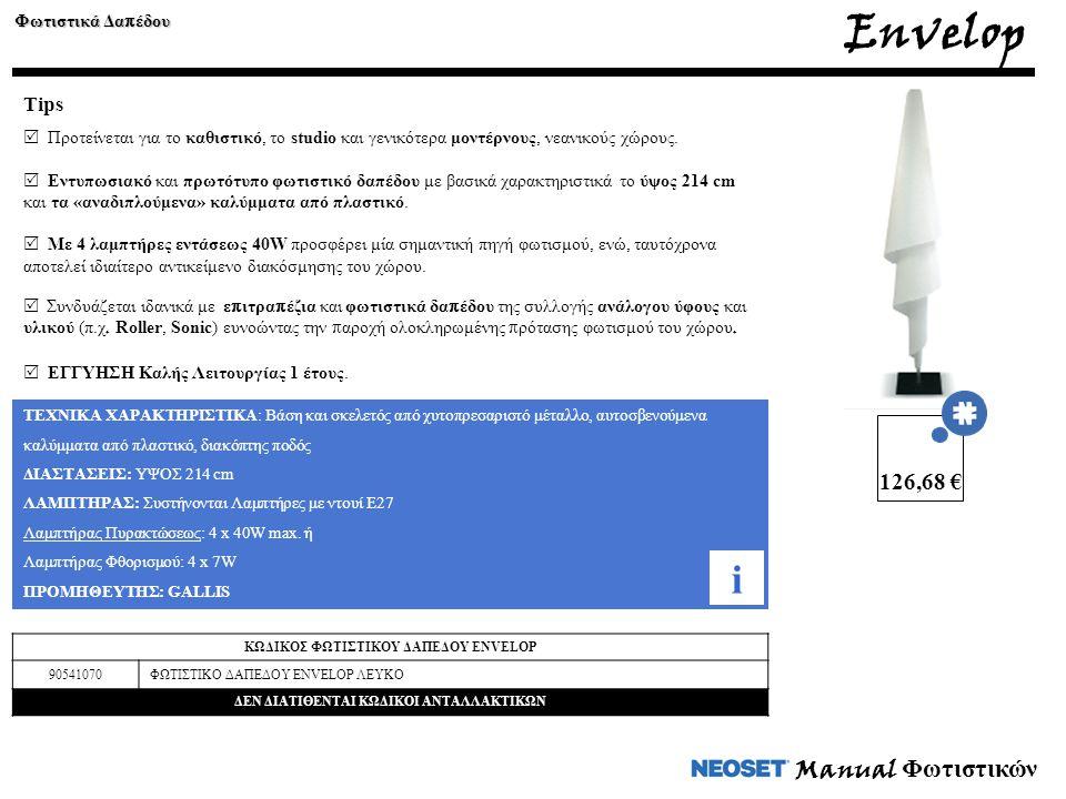 Manual Φωτιστικών Envelop Φωτιστικά Δα π έδου Tips  Προτείνεται για το καθιστικό, το studio και γενικότερα μοντέρνους, νεανικούς χώρους.