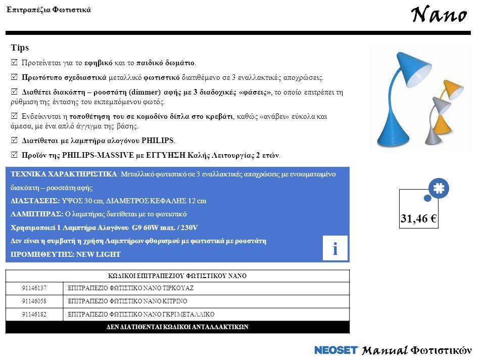 Manual Φωτιστικών ΤΕΧΝΙΚΑ ΧΑΡΑΚΤΗΡΙΣΤΙΚΑ: Μεταλλικό φωτιστικό σε 3 εναλλακτικές αποχρώσεις με ενσωματωμένο διακόπτη – ροοστάτη αφής ΔΙΑΣΤΑΣΕΙΣ: ΥΨΟΣ 30 cm, ΔΙΑΜΕΤΡΟΣ ΚΕΦΑΛΗΣ 12 cm ΛΑΜΠΤΗΡΑΣ: Ο λαμπτήρας διατίθεται με το φωτιστικό Χρησιμοποιεί 1 Λαμπτήρα Αλογόνου G9 60W max.