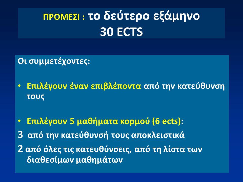 ΠΡΟΜΕΣΙ : το δεύτερο εξάμηνο 30 ECTS Οι συμμετέχοντες: Επιλέγουν έναν επιβλέποντα από την κατεύθυνση τους Επιλέγουν 5 μαθήματα κορμού (6 ects): 3 από