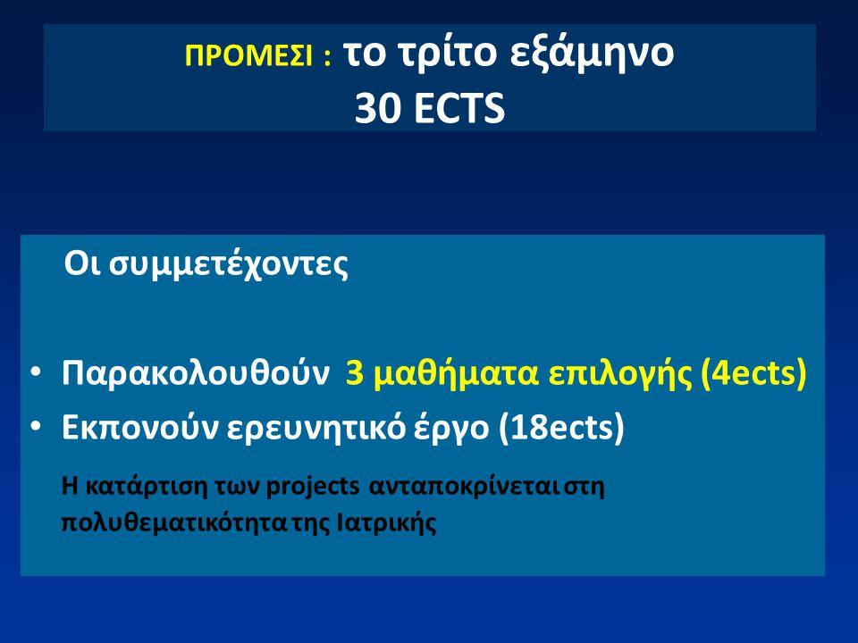 ΠΡΟΜΕΣΙ : το τρίτο εξάμηνο 30 ECTS Οι συμμετέχοντες Παρακολουθούν 3 μαθήματα επιλογής (4ects) Εκπονούν ερευνητικό έργο (18ects) Η κατάρτιση των projec