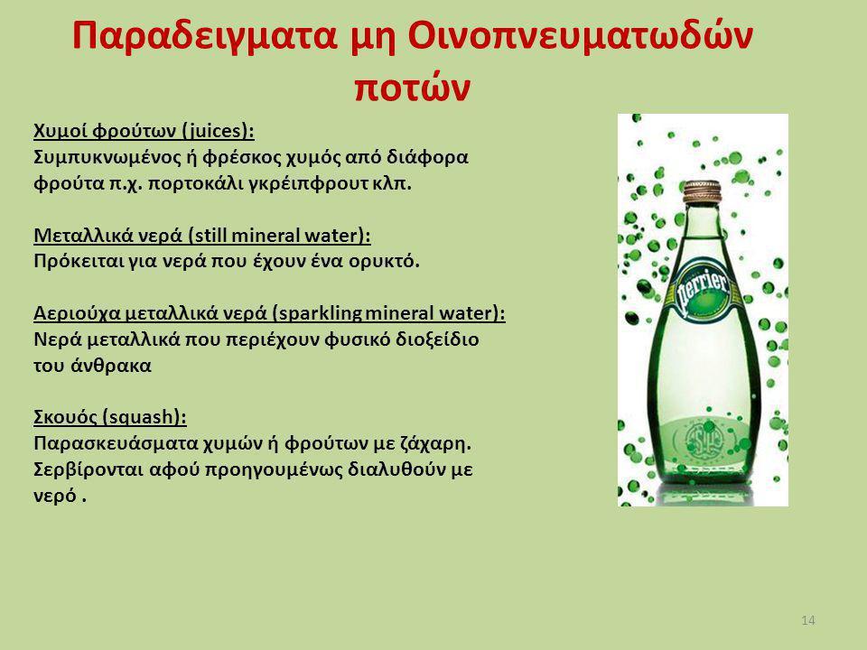 14 Χυμοί φρούτων (juices): Συμπυκνωμένος ή φρέσκος χυμός από διάφορα φρούτα π.χ. πορτοκάλι γκρέιπφρουτ κλπ. Μεταλλικά νερά (still mineral water): Πρόκ